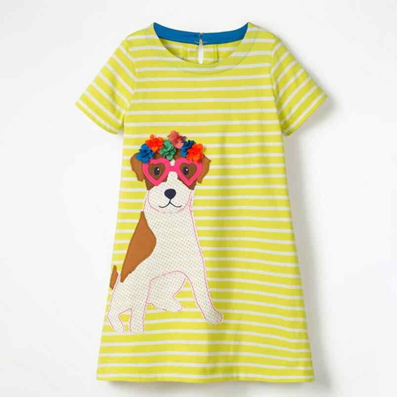 Little maven 2019 nieuwe zomer baby meisjes kleding merk jurk kinderen katoenen gestreepte animal print korte mouw bloemen jurken