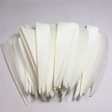 50pcs High Quality 3inch Feath Shield Cut Vanes Turkey Feather Colour White Arrow Real Feathers Bow