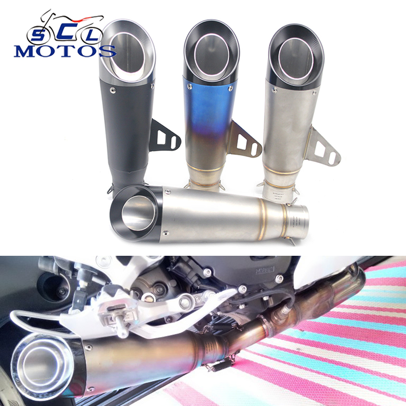 Sclmotos -51mm Inlet Motorcycle Exhaust Muffler Motorbike SC Exhaust Escape Moto Racing ATV Scooter Z750 Z800 NINJA CB400 TAMX 51mm modified motorcycle exhaust pipe muffler cbr cb400 cb600 z750 z800 tmax530 mt07 gy6 motorbike muffler silencer escape moto