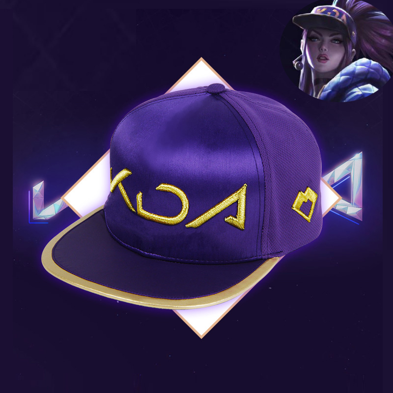 Newest Fashion KDA Hat Cosplay KDA AKALI Hat Game LoL Akali Cotton Bonnet Rap Cap KDA Mask Purple Cap for Men Women Dropshipping