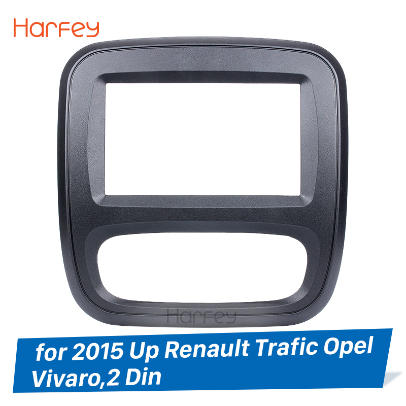 Harfey 2 Din Car Radio Fascia For 2015 Up Renault Trafic Opel Vivaro DVD Panel Dash Kit Auto Stereo Installation Dashboard Panel image