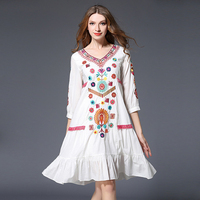 Vintage bohemian dress 2017 new arrival v neck spring Embroidery beach white cotton loose A Line dresses for women ruffles OM582