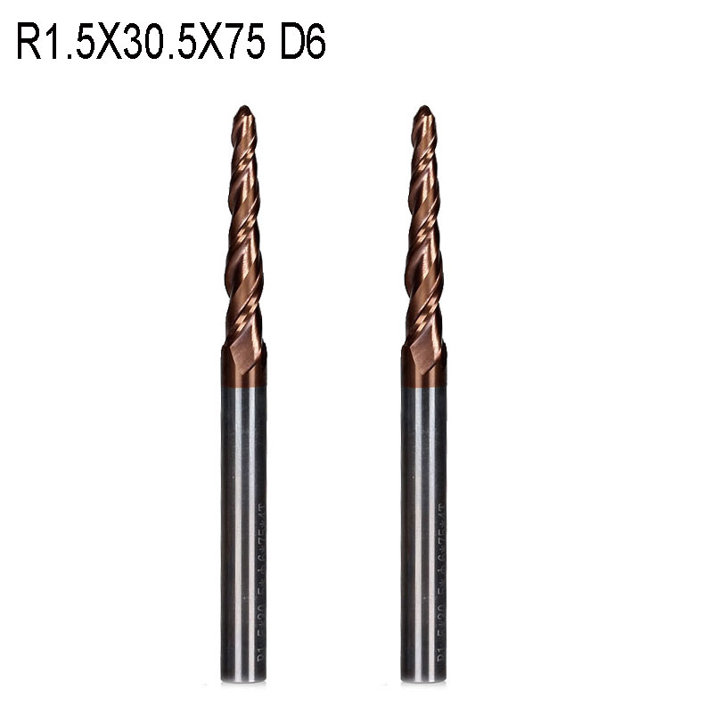 2PCS R1.5*D6*30.5*75L*2F HRC55 Tungsten solid carbide Coated Tapered Ball Nose End Mill taper and cone endmills 2pcs r0 75 d6 30 5 75l 2f hrc55 tungsten solid carbide coated tapered ball nose end mills taper and cone endmills