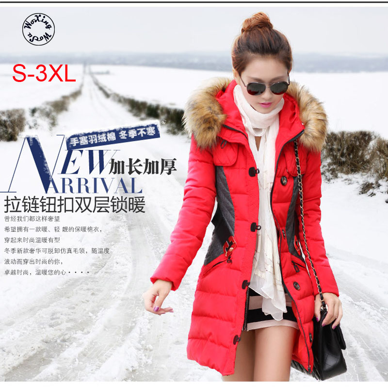 Woxingwosu hooded parkas thick, large size cotton padded jacket, fur colla hat color matching,slim waist,size S to 3XL