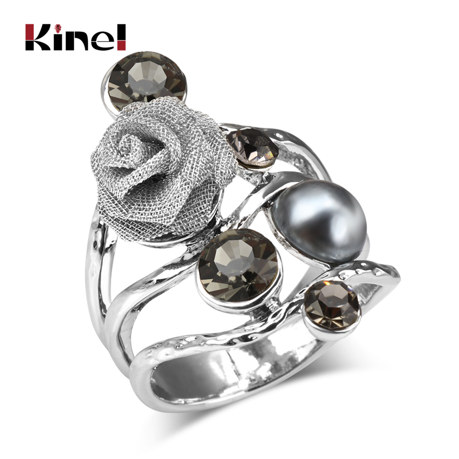 Kinel 2017 Bohemian Big Crystal Rings For Women Antique Silver Color Inlaid Pearls Rose