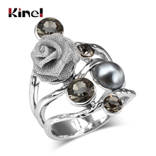 2014 Wholesale Selling Bohemian Retro 925 Silver Topaz Ring Purple Turquoise Big Statement Rings For Women