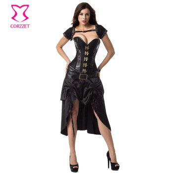 5-piece Set Black Hot Sexy Corpetes E Espartilhos Plus Size Corsets And Bustiers Gothic Steampunk Dress Burlesque Corset Dresses