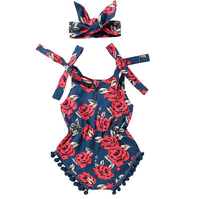 Summer 2017 Newborn Infant Girls Floral Rose Tassel   Romper   Shoulder lace Belt Jumpsuit Clothes Sunsuit Outfits