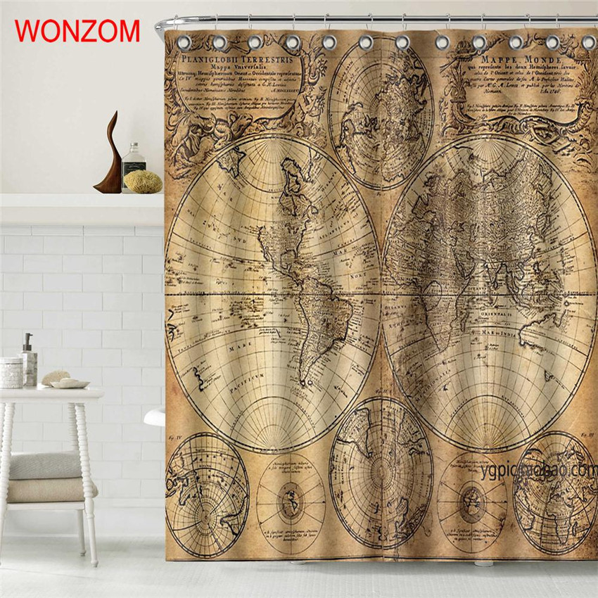 wonzom world map polyester fabric landscape shower curtain bathroom decor waterproof cortina de bano with 12 hooks gift 2017 in shower curtains from home