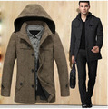 2016 Long Single Breasted Wool Coat Men Winter Wool Coat Thick Warm Cashmere Coat Plus Size Casual  Woolen Overcoat 5XL D2223