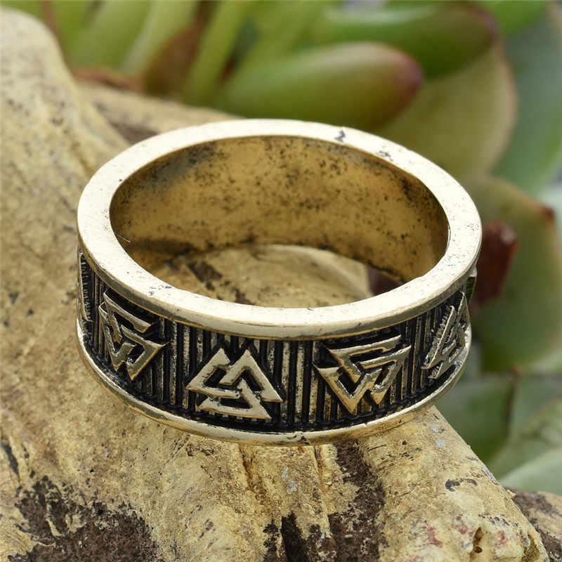 Viking Valknut Rune Cincin Pria Wanita Nordic Anel Bague Perhiasan Cincin Pernikahan 1 PC Dropshipping