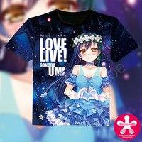 סיטונאי 2016 אופנה חדשה גברים חולצה אנימה kawaii אוטאקו בגדי קוספליי שמש אהבה בשידור חי Sonoda Umi tees החולצה מקרית