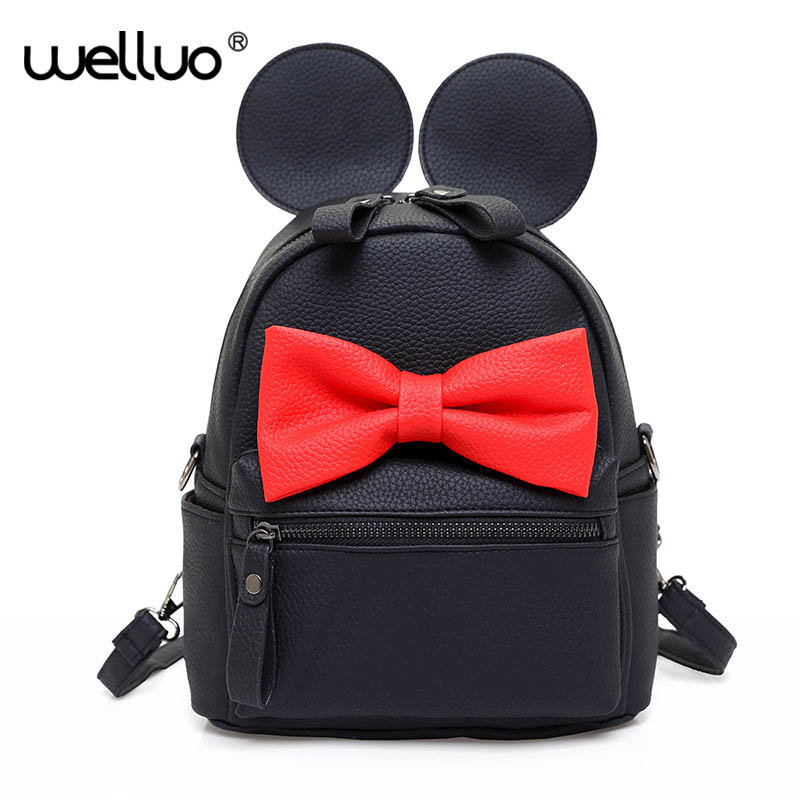 Hot Mickey Ears Leather Backpacks for Teenage Grils Sweet Cute Bowknot Backpack Child Women Shoulder Bag Female Rucksack XA245B 3pairs lot fk25 ff25 ball screw end supports fixed side fk25 and floated side ff25 for screw shaft