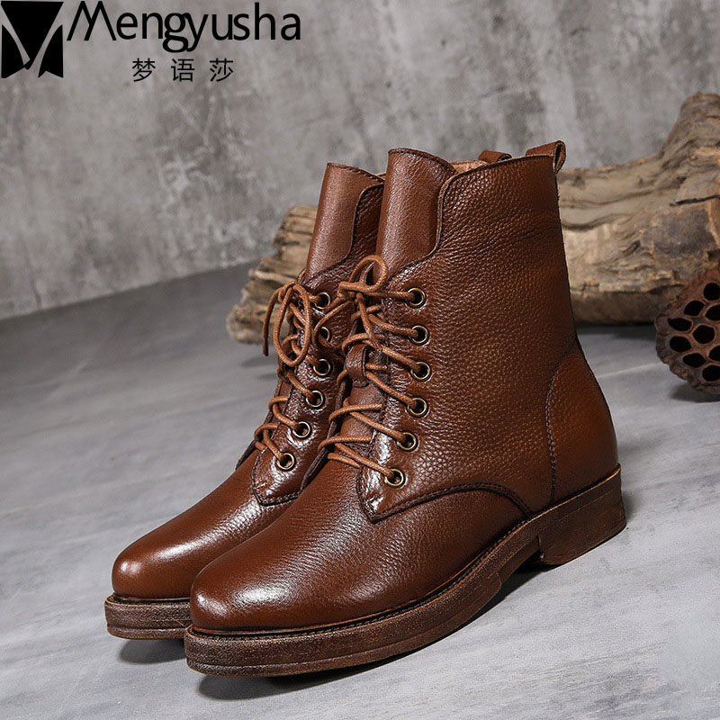 New Genuine leather women martin boots winter warm shoes botas feminina female vintage ankle fashion boots women botas mujer 2017 new anti slip women winter martin