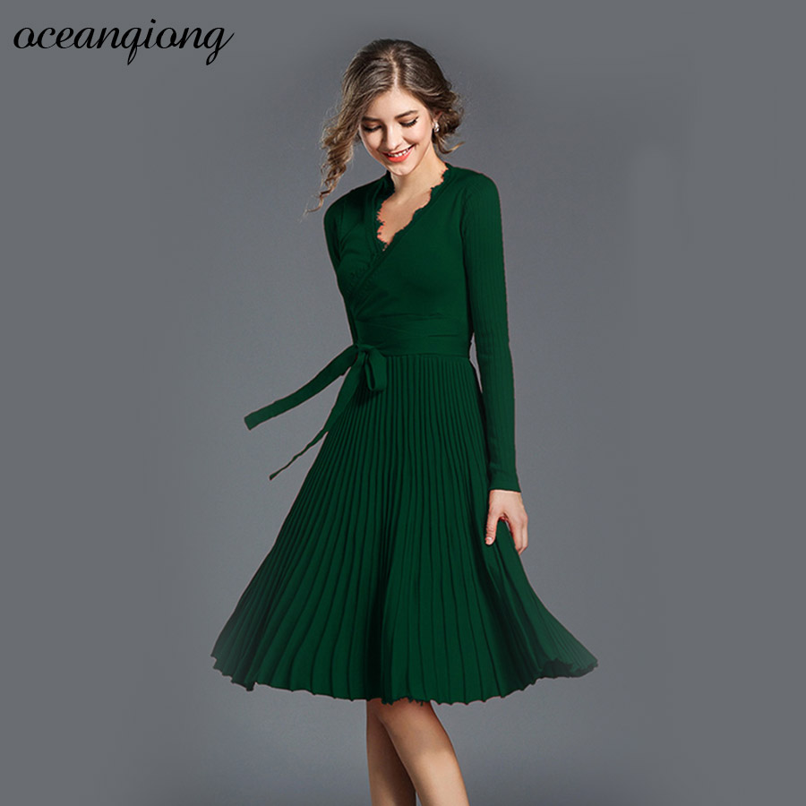 Women Pleated Knitted Dress Autumn Winter 2017 Long Sleeve Women Dress Sexy Slim Lace V-Neck Solid Lace Up Dropped Party Dress artsu casual bodycon knitted dress slim long sleeve sexy split button midi dresses women autumn winter party vestidos asdr30434