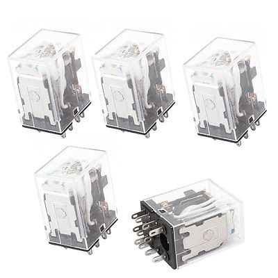 HH53PL DC 12V Coil 11 Pins 3PDT Green LED Indicator Lamp Power Relay 5 Pcs Free Shipping 12v 3 pins adjustable frequency led flasher relay motorcycle turn signal indicator motorbike fix blinker indicator p34