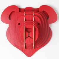 Red Decoraion Animals Head For Wall Decoration Wooden Crafts For Children Carved Wood Art Wooden Home