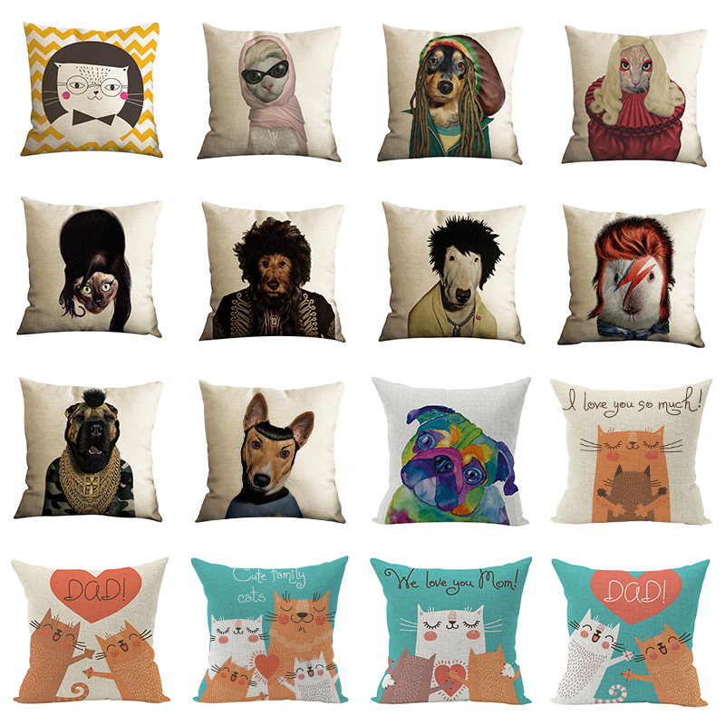 Nunubee Animal Family Pillow Covers Funny Cat Pillow Case Pet Cushion Cover for Home Car Decorations Pillowcase 45*45CM