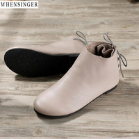 Whensinger Women Flat Shoes loafers Genuine Leather Casual Tie Flats Shoe Vintage Elegant Fashion Driving shoes