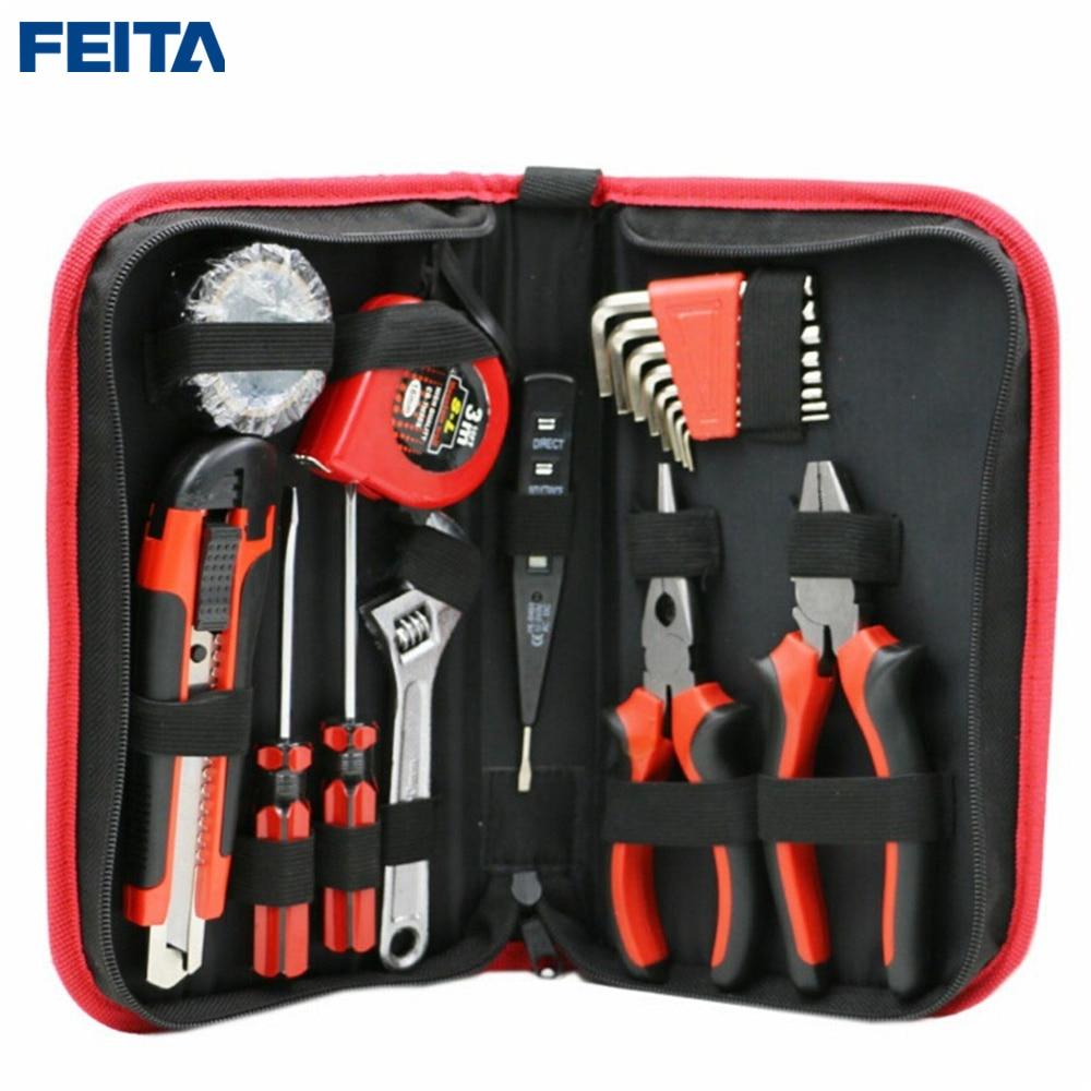 FEITA 18pcs/Set Garden Home Repair Tools Set Kit Screwdriver Utility Knife Plier DIY Handy Case Hand Household Tools Set  combination plier electrician repair mini hand home tool kit