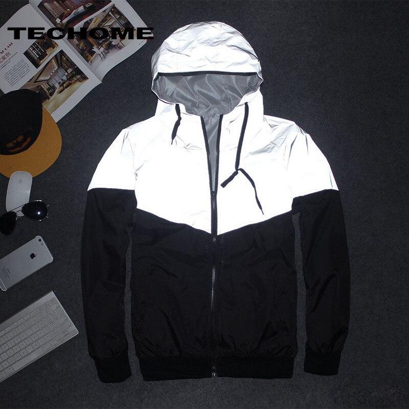 Men Jacket Spring Autumn Patchwork Reflective 3M Jacket Esportes Hip Hop Waterproof Windbreaker Men Coat Brand Fluorescence 3XL