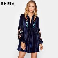 SHEIN Tasseled Tie Bishop Sleeve Embroidery Velvet Dress Navy Long Sleeve V Neck A Line Dress