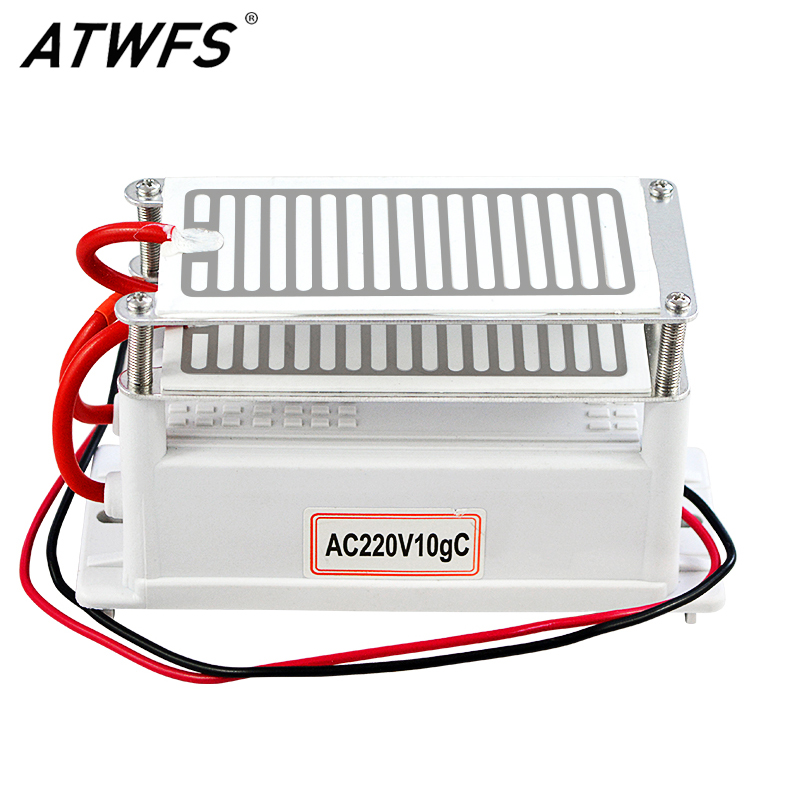 ATWFS 10g Ozone Generator 220V Double Integrated Long Life Ozone Ceramic Plate Ozonizer Air Cleaner Odor Remover Sterilizer ceramic ozone generator 220v 110v 7g double integrated long life ceramic plate ozonizer air disinfection