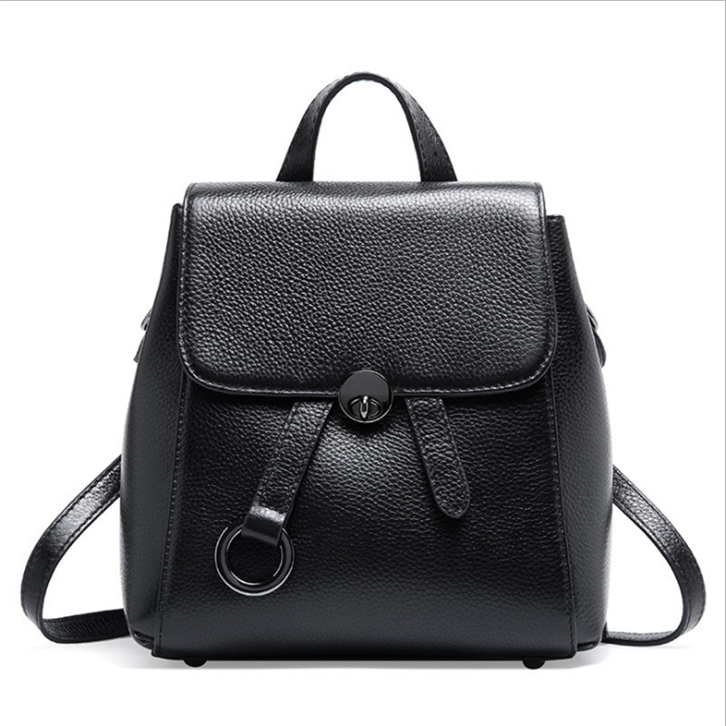 2019 Anti theft Design 100 Natural Cow Leather Women s Backpack Black Preppy Teenage Girls Schoolbags
