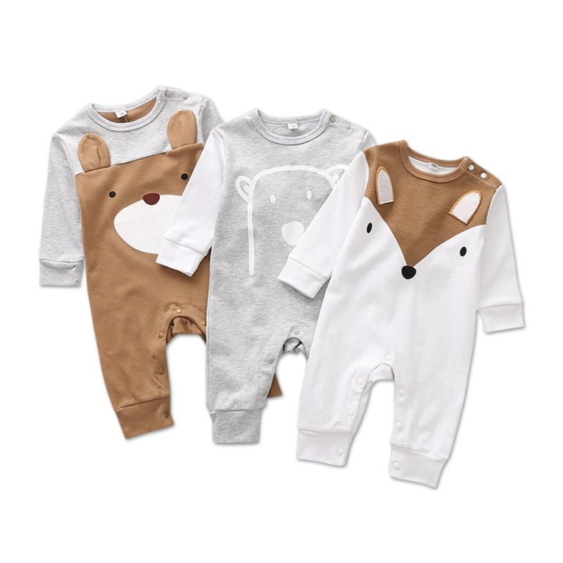 Baby Romper Newborn Baby Boys Romper Girls Playsuits Cotton Long Sleeve Animal Baby Clothes Infant Pajamas Underwear 0-12M
