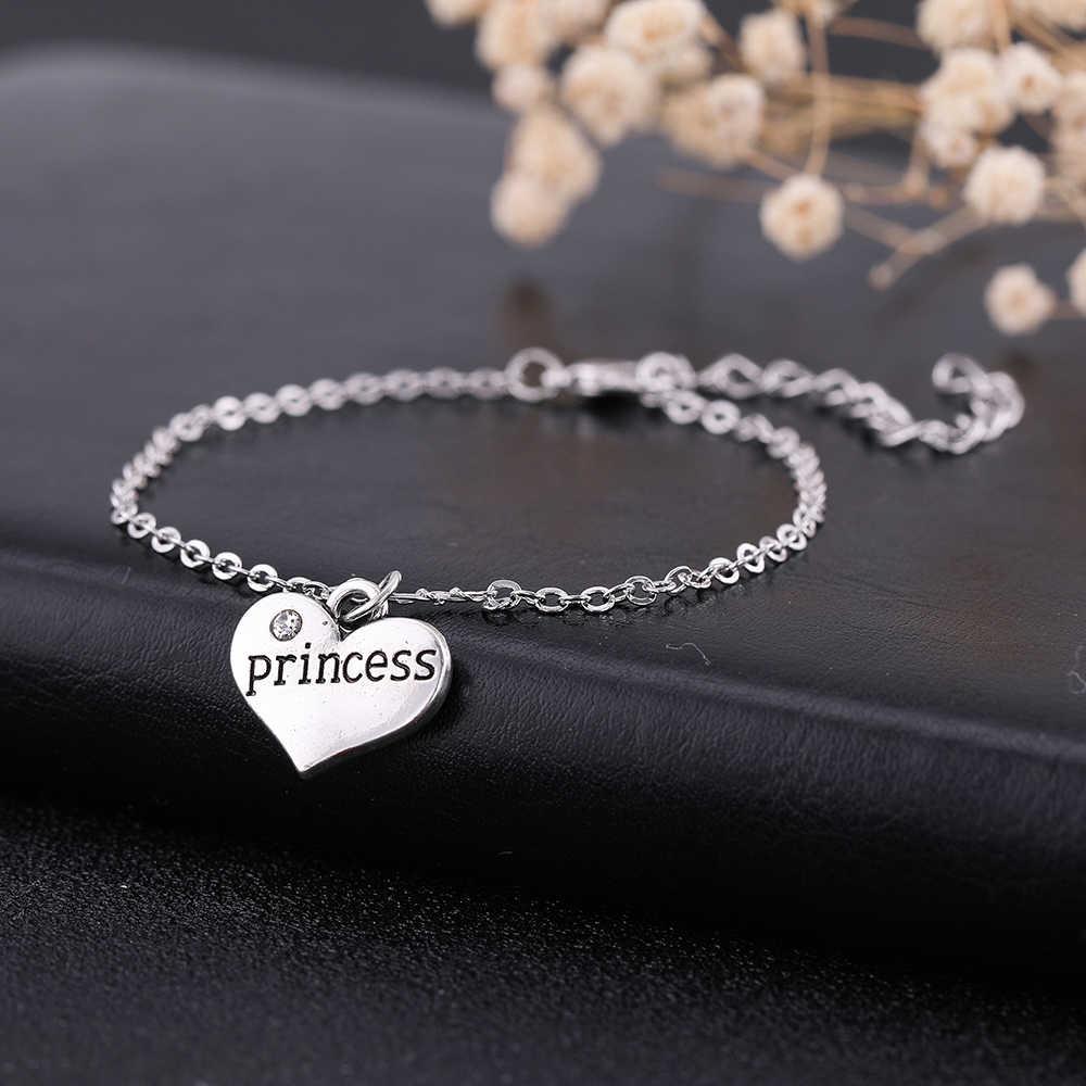 Dawapara membre de la famille princesse pendentif en forme de coeur réglable Bracelet ensembles de bijoux pour petite fille d'anniversaire SMCAHH110574