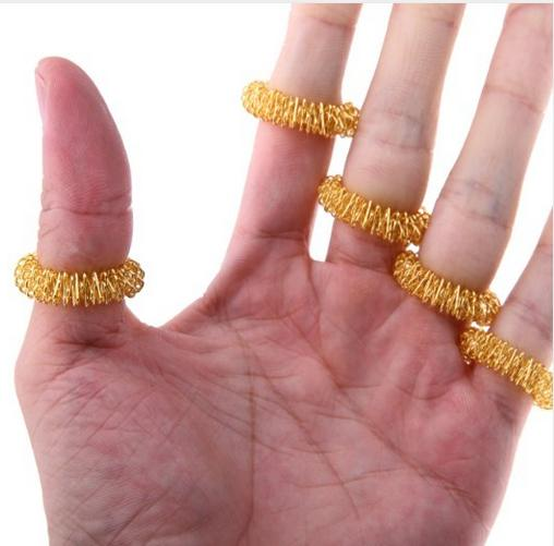 200 Pcs/lot Acupressure Finger Massager Ring Hand Reflexology Acupuncture massage Ring Pain Finger Therapy Massage Health Care
