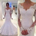 Vestido De Noiva de Renda vestidos de Casamento 2017 Vestidos O Pescoço Longo Manga Botão Trem Da Varredura Applique Lace Sereia Vestidos de Noiva Vestido Formal