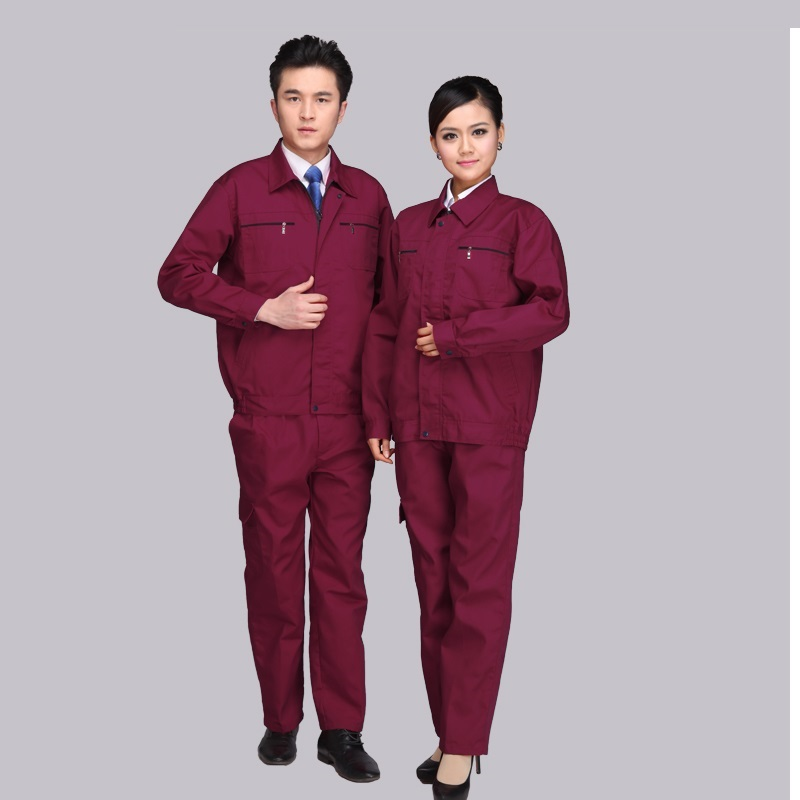 (10 Set-Shirt&Pant)Pure Color Men Long Sleeve 4 S Shop Mechanics Smock Suit Auto Workers Labor Insurance Clothing Uniforms