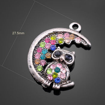 27.5x27.5mm 30pcs Vintage Silver Plated Moon With Night Owl Antique Metal Pendant Paved Colorful Crystals For DIY Necklace