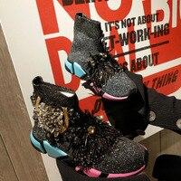 Crystal Socks Sneaker Black Women Rhinestone Casual Shoes Crystal Sneakers Lady Tassels Knitted High Top Ankle Boots WK98