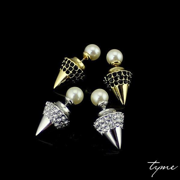 Pearl taper earring Earrings fashion brand Tyme jewelry double imitation pearl stud earrings for women love H Christmas gifts