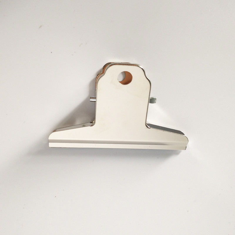 Free Shipping(9pcs/lot) 75mm Power Metal Grip Clips Silver Bulldog Clip Stainless Steel Ticket Clip Stationery
