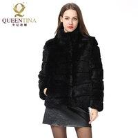 Цельное пальто с кроличьим мехом, куртка с воротником стойкой, пальто с натуральным кроличьим мехом, Новая зимняя женская модная меховая жи