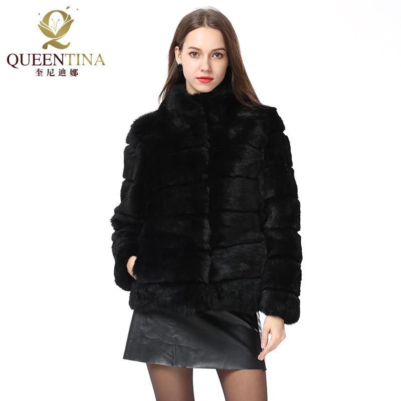 Kadın Giyim'ten Gerçek Kürk'de Tüm tam Pelt tavşan kürk portmanto yaka ceket gerçek tavşan kürk ceket yeni kış kadın moda kürk yelek doğal kürk ceket'da  Grup 1