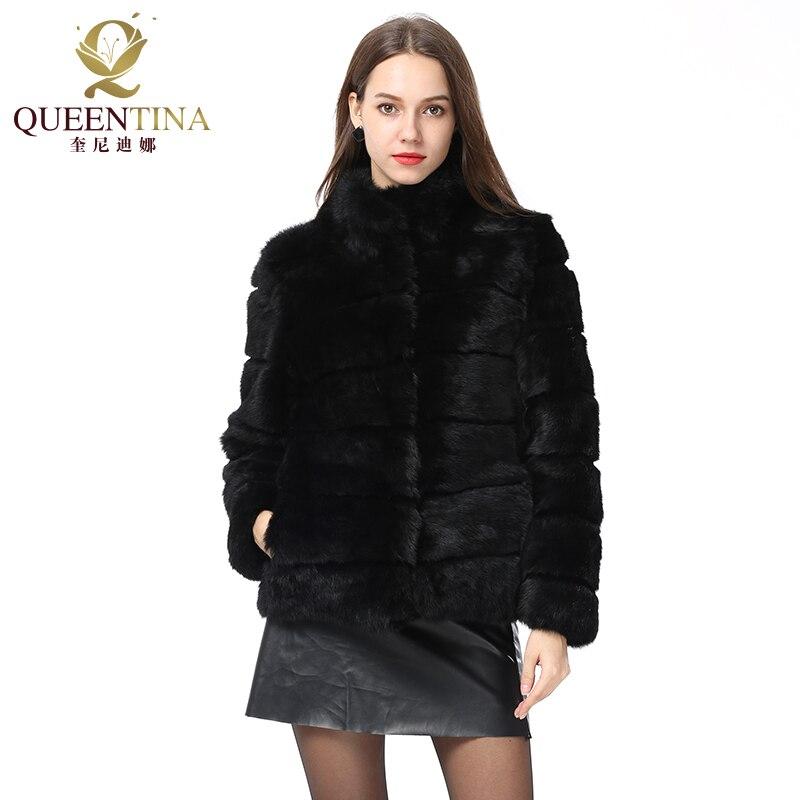 Whole Full Pelt Rabbit Fur Coat Stand Collar Jacket Real Rabbit Fur Coat New Winter Women Fashion Fur Waistcoat Natural Fur Coat