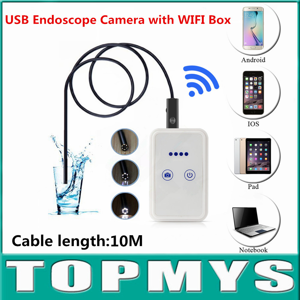 wireless USB endoscope with wifi box TM-WE9 9mm Lens 10m Cable pinhole camera Android IOS iphone inspection camera waterproof en66 6led 5 5mm endoscope ip67 waterproof inspection camera usb for windows8 7 xp vista 2000 wifi box for ios android
