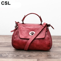 Level Brand Leather Leather Handbags Retrouine Leather Cowhide Bags Handbags Women Famous Brands Shoulder Messenger Bag