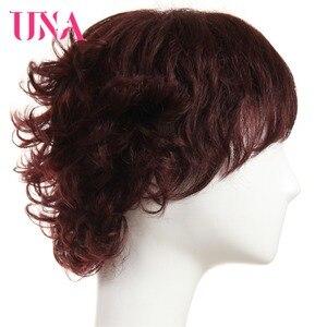 Image 3 - Женские вьющиеся парики UNA Non Remy, 150% плотность #1 # 1B #2 #4 #27 #30 #33 # 99J # mt #350 #2/33