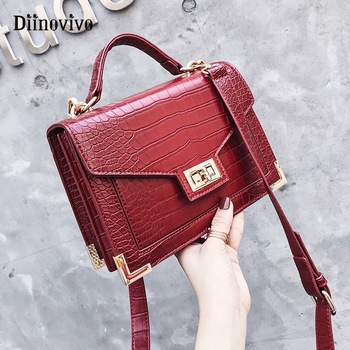 DIINOVIVO Fashion Female Handbag New Quality Leather Women Bag Crocodile Pattern Tote Bag Lock Shoulder Messenger Bags WHDV0919 tote bag