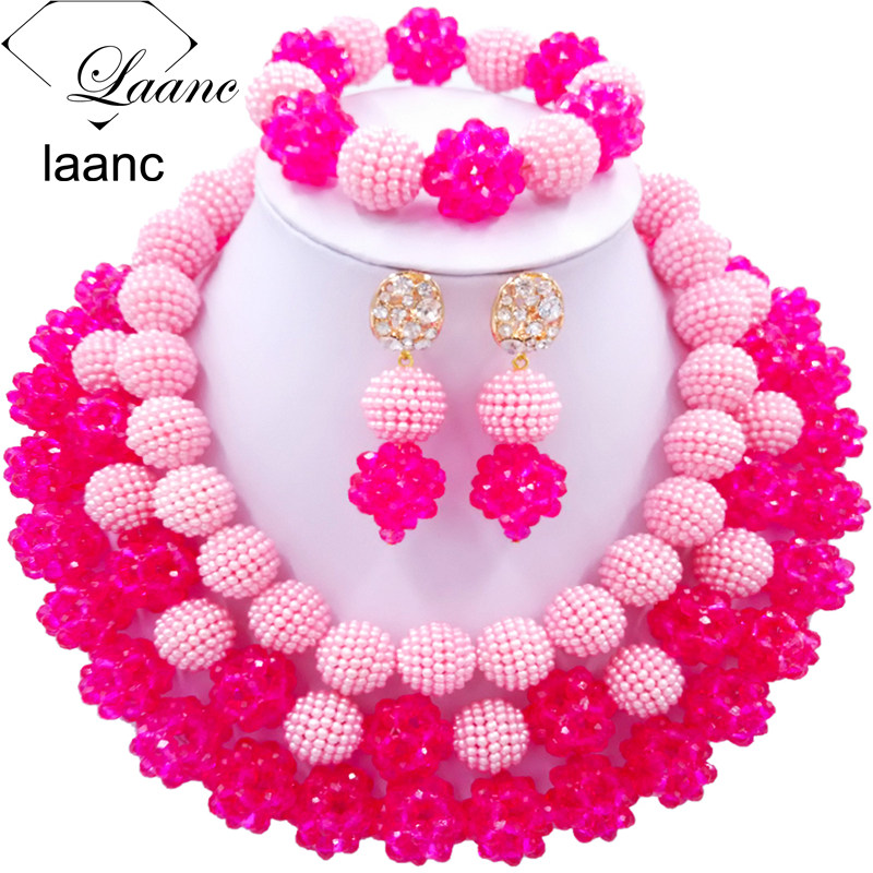 Laanc Fashion Pink and Hot Pink African Beads Jewellery Sets 2017 Nigerian Wedding Necklace and Earrings