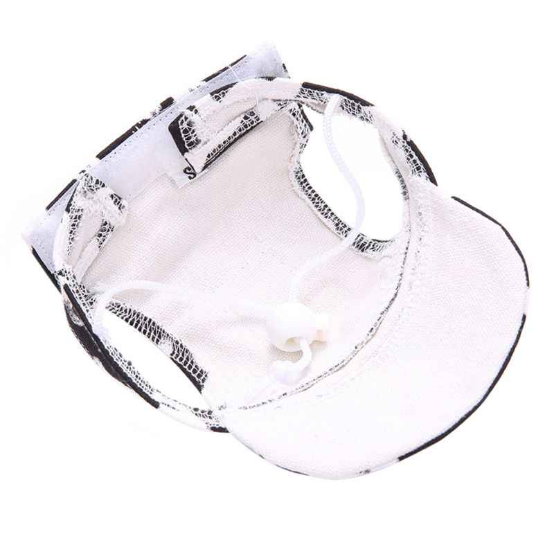09e7a2a1d40 ... Dog Caps Mini Pet Summer Canvas Cap Dog Baseball Visor Hat Puppy  Outdoor Cap Ear Hole ...