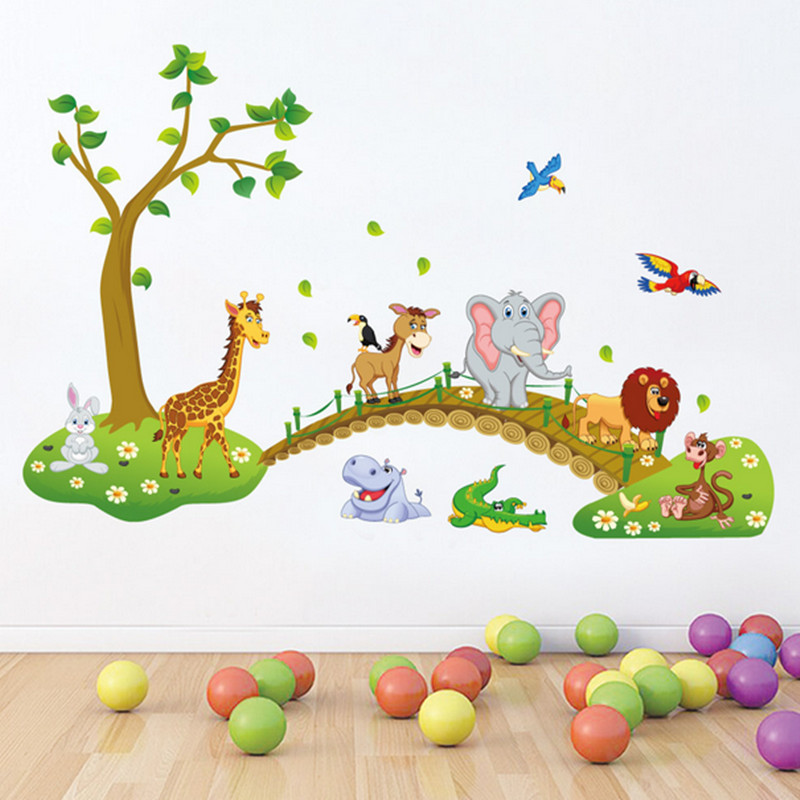 NieNie DIY Wall Sticker Forest Animals Tree Bridge Lion Giraffe Elephant Wall Stickers for Kids Room Home Decor Poster Wallpaper