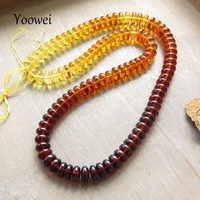 Yoowei 44cm/Strand Amber Beads Wholesale Rainbow Handmade diy Jewelry 8mm Baltic Natural Amber Loose Beads for Jewelry Making