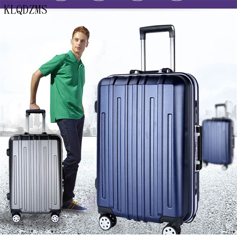 KLQDZMS 20/24/26Inch Luxury PC Rolling Luggage Men Business Travel Suitcase Spinner Women Trolley Bags On Wheels