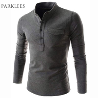 New Arrival Solid Color Polo Shirt Men 2016 Fashion Stand Collar Gray Long Sleeve Polo Shirt